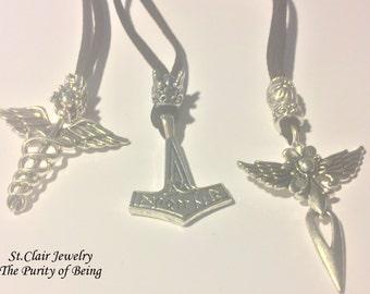 Thors Hammer,Mjöllnir,God jewelry,God of Thunder,Queens Cross,Fleur de Lis ,Caduceus ,Hermes Staff,Magic Wand,Gods Symbol,Caduceus Cross
