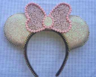 Handmade Sparkly Rose White Minnie Mouse Ears Fastpass Fast Pass