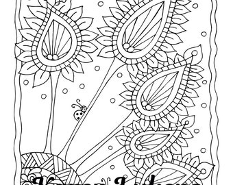 Ticklers, 1 Adult Coloring Book Page, Instant Download, Ocean, Flowers