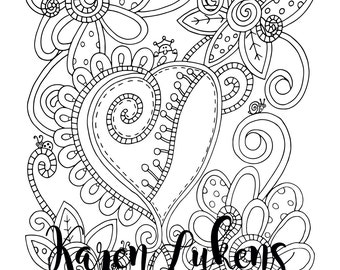 """Valentine's - """"Zippies"""", 1 Adult Coloring Book Page, Printable Instant Download, Valentine's, Flowers"""