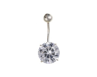 Sterling Silver 10mm Round Cubic Zirconia Navel Body Bar