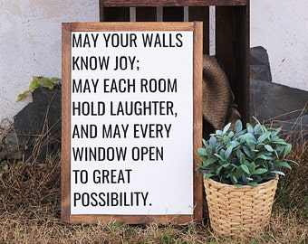 May Your Walls Know Joy, Framed Wooden Sign, Farmhouse Decor, Rustic Sign, Wood Sign, Wall Hanging