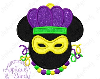 Mr Mouse Mardi Gras Applique Machine Embroidery Design 4x4 5x7 6x10 Head Silhouette INSTANT DOWNLOAD