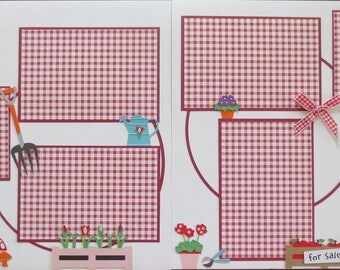 Garden - Planting - Gnome - Double Page Scrapbook Layout - 12X12