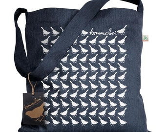 Upcycling navy shoulder bag bird walk