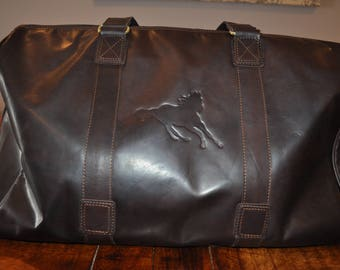 Beautiful Leather Duffle Bag / Overnighter. A perfect weekender embossed with an image of a wild horse.