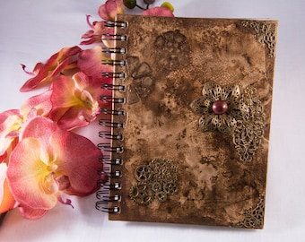 Rustic notebook, diary, sketch book, brown, metallic, mixed media