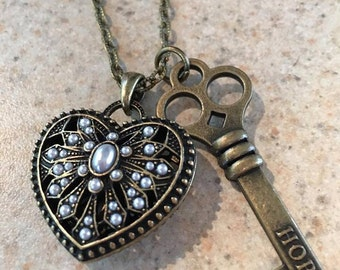 Handcrafted Antique Bronze Gray Pearl Key to My Heart Hope Necklace