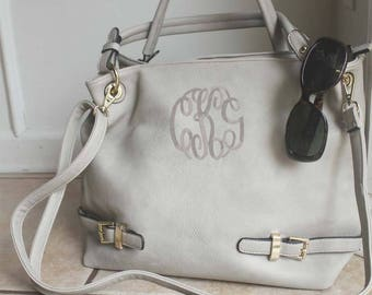 Monogrammed Personalized buckle tote in Sand