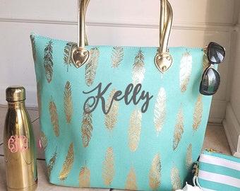 Monogrammed Mint and Gold metallic feather tote bag
