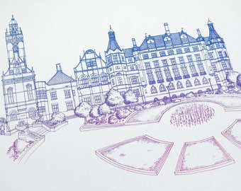 Sheffield Town Hall Screen Print of line drawing in two tone blue and pink, contemporary, quirky, illustration wall art