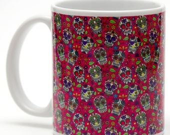 Day of the Dead Sugar Skulls patterened 11oz ceramic mug.
