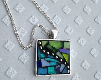 Turquoise Necklace/Blue Necklace/Green Necklace/Mosaic Pendant Necklace/Stained Glass Mosaic Necklace/Boho Necklace/Gifts under 40/P93