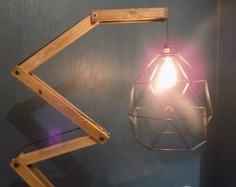 Lamppost design articulated wooden Lampshade in metal