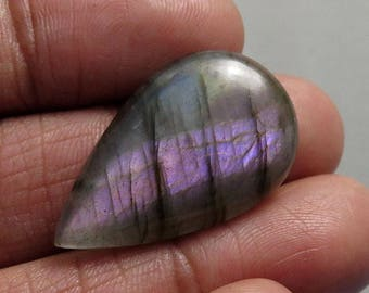 22Cts Natural Purple Labradorite Pear Shape Loose Gemstone Cabochon Semi Precious Jewellery Making Gemstone 31X19X5mm B-0210-A