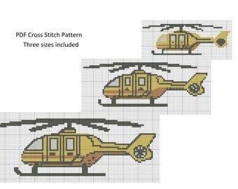 Helicopter Cross Stitch Pattern, Cross Stitch Patterns, Counted Cross Stitch, Helicopter Pattern XStitchEverything, Cross Stitch Helicopter