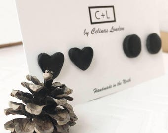 Black Clay Studs - Black Heart Studs