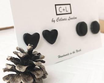Black Clay Studs