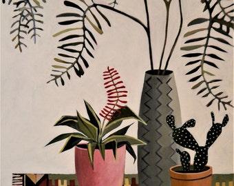 Plants on Kilim Rug