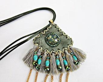 Necklace, pendant, leather, leatherbound, amulet, tassel, Boho, Ehtno, Gipsy style, Ibiza style, present,