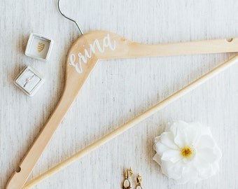 Calligraphy Wooden Wedding Party Hangers - Gold or White Ink - Light or Dark Wood