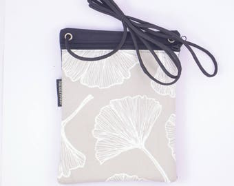 Waterproof fabric phone travel bag. Beige Ginkgo fabric. Cell pouch.
