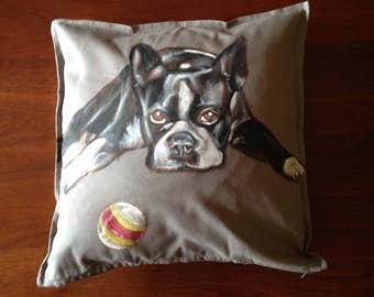 Boston Terrier - hand painted cushion cover grey