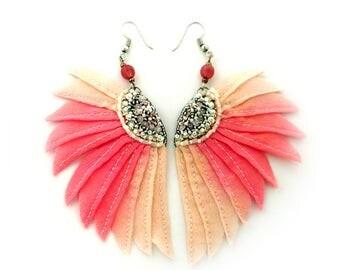 Silk wing earrings, textile jewelry