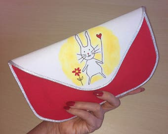 Hand Painted and Handmade Bunny Rabbit Clutch Bag