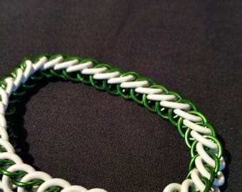 Green and White Stretchy Chainmaille Bracelet