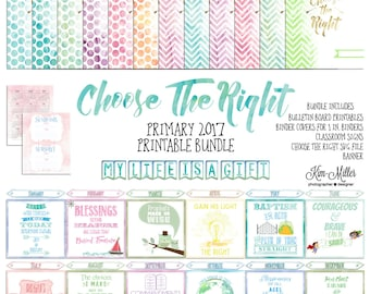 2017 Choose The Right Pimary Printables Bundle, LDS Printables, LDS Binder Covers, LDS Primare Bulletin Board, Primary Class Signs