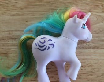"MLP, Hasbro, Windy, unicorn, rainbrow,  lilac, 5""tall, vintage 1983, has some spots of colors, but still in good condition"
