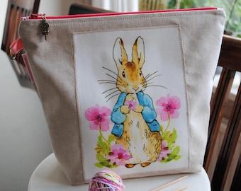 "Project bag - ""Peter Rabbit & pink flowers"""
