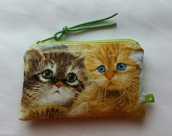 Wallet, purse, pouch, wallet, business card case, cats, dotted bag, cat,