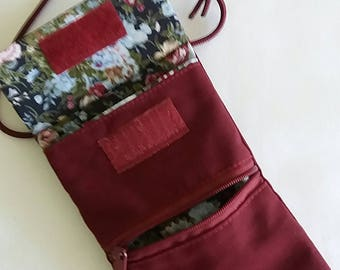 Pouch Pocket shoulder bag Mobile Pocket purse red floral, Gechenk, gift for women, travel bag, uni, Velcro