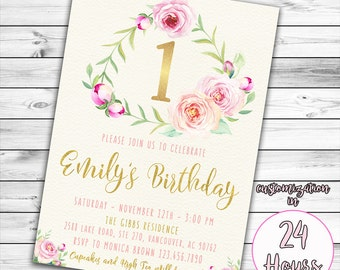 Pink and Gold First Birthday Invitation, Girl First Birthday Invitation, Girl Birthday Invitation, Floral Birthday Invitation, Pink and Gold