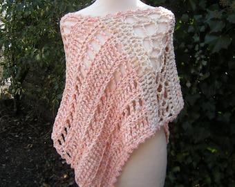Poncho, crochet, crocheted, apricot