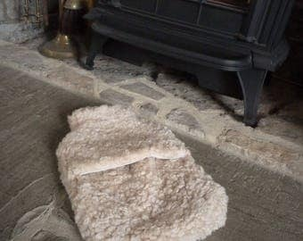 Handmade Somerset Sheepskin Hot Water Bottle Cover in Clotted Cream Curly Sheepskin
