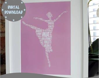 Personalised Printable Ballerina Print, Print Your Own Personalised Ballet Dancer Print,  Printable Word Art Print, *DIGITAL DOWNLOAD ONLY*