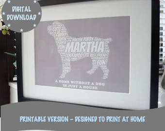 Personalised Printable Dog Print, Print Your Own Word Art Print, *DIGITAL DOWNLOAD ONLY*