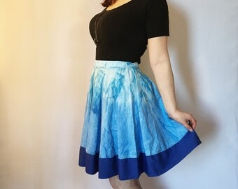 SALE 50% 0FF Blue Ombre Skirt, Circle Skirt, Bright Summer Skirt, Full Circle Skirt, High Waisted Skirt, Blue Cotton Skirt, Skater Skirt