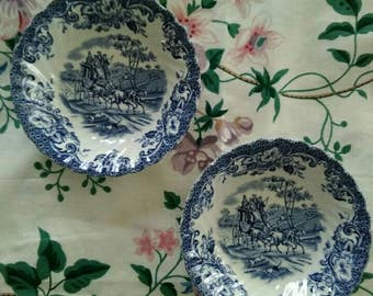Set of Two, Coaching Scenes by Johnson Bros. Made in England, Ironstone, Hunting Country, Small, Scalloped edges, Dessert/Fruit Bowls