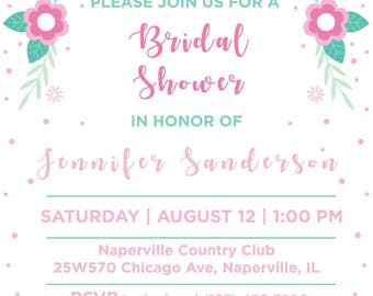 Pink and Green Floral Bridal Shower Invitation