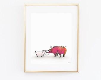 You & Me, Piggy, Funny Pig wall art, Pig print, print for pet lovers, Pig digital file, Animal art print, hand drawing, Instant download