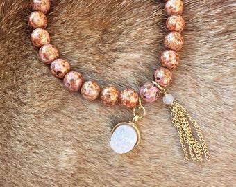 Shiny Orange Brown Pearl Bracelet