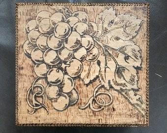 Vintage Flemish Art Pyrography Grape Design Latched Box