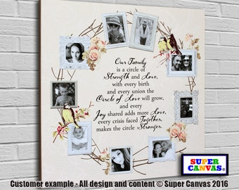 Circle of Love 'Family' personalised bespoke framed Canvas Print with 9 pictures