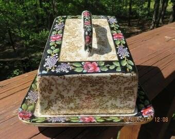 Antique Austrian Butter Dish Cheese Dish Floral Design