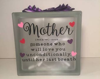 Frosted Glass block, Mother's Day, Lighted Glass Block, Keepsake,Glass plaque, lighted block,