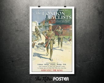 The London Cyclists - Ernest Ibbetson, 1912 - British, World War 1, WW1, Propaganda, Recruitment Poster, History Teacher Gift, 1910s